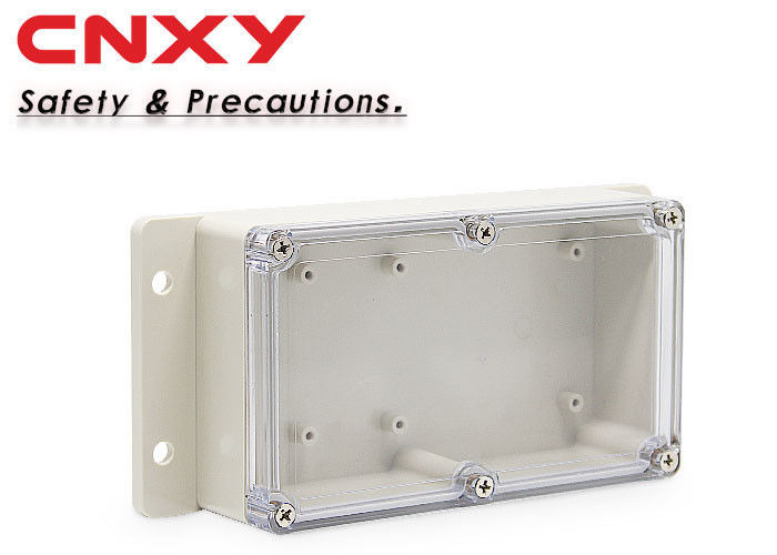 Dustproof Flanged Plastic Box , Clear Waterproof Enclosure 158*90*46 Mm
